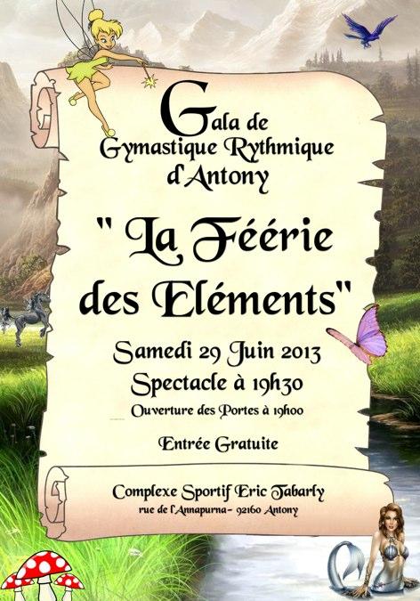 Affiche du Gala de Gymnastique Rythmique 2013.