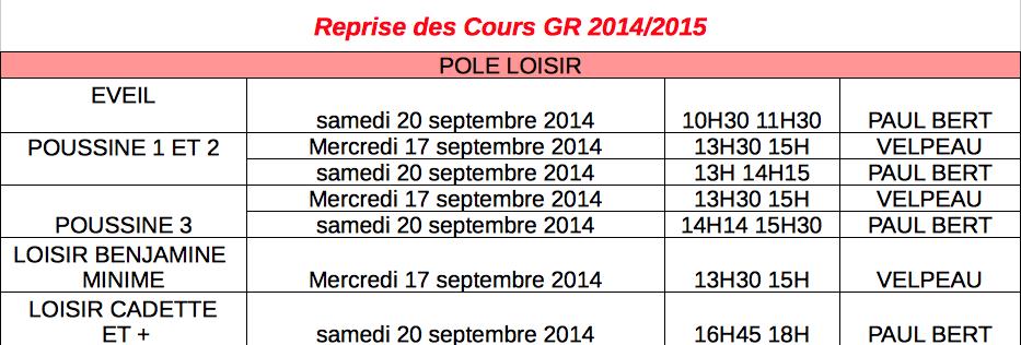 Reprise 2014 Loisir